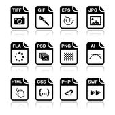 File type black icons - graphic and web design, web development — Stock Vector