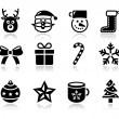 Stock Vector: Christmas black icons with shadow set - santa, present, tree