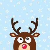 雪の背景を持つベクトル トナカイ クリスマス カード — ストックベクタ