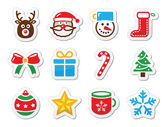 Christmas icons set as labels — Stock Vector