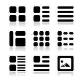 Galeria vista pantalla opciones iconos conjunto - lista, cuadrícula — Vector de stock