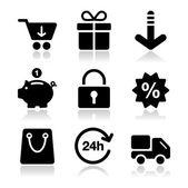 Nakupování na internetu, nastavené černé ikony se stínem — Stock vektor