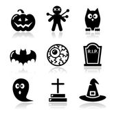 Halloween zwarte iconen set - pompoen, heks, ghost — Stockvector