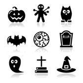 Set di icone di halloween nero - zucca, strega, fantasma — Vettoriale Stock