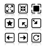 Website screen icons set - full screen, minimize, refresh — Stock Vector