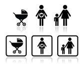 Baby iconen set - vervoer, zwangere vrouw, familie — Stockvector