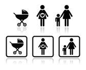 Jeu d'icônes de bébé - transport, femme enceinte, famille — Vecteur