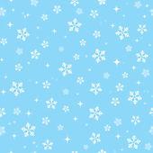 Snöflingor på blå himmel - jul sömlös bakgrund — Stockvektor