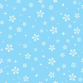 Snowflakes on blue sky - Christmas seamless background — Stok Vektör