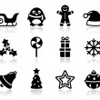 Christmas black icons with shadow set — Stock Vector #12924155