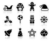 Iconos de navidad negro con sombra set — Vector de stock