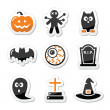 Halloween black icons set as labels — Stock Vector