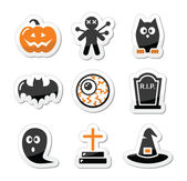 Halloween black icons set as labels — Vector de stock