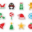 Christmas icons as colourful labels set — Stock Vector