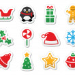 Christmas icons as colourful labels set — Stock Vector #13083231