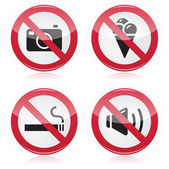 Forbidden sign: no cameras, no food, no smoking, no noise — Stock Vector