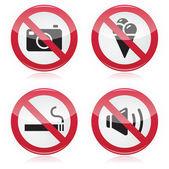 Запретный знак: без камер, без еды, не курить, без шума — Cтоковый вектор