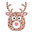 Stock Vector: Christmas reindeer rudolf icon made of circles