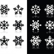Snowflakes icons with shadow on black and white background — Stock Vector #13331951