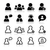 Set di icone utente nero - uomo d'affari, servizio clienti, personale avatar — Vettoriale Stock