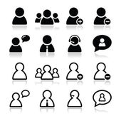 User black icons set - businessman, customer service, staff avatars — Vector de stock