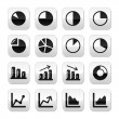 Chart graph black icons set for infographics - Vettoriali Stock