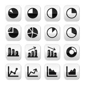 Chart graph black icons set for infographics — Stock Vector