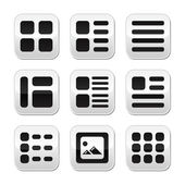 Website gallery view Display options buttons set - list, grid — Stock Vector