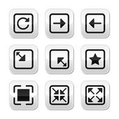 Website screen size buttons set - full screen, minimize, refresh — Stock Vector