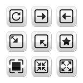 Website screen size buttons set - full screen, minimize, refresh — Stock Vector