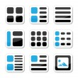 Website display options and photo gallery view icons set - Stock Vector