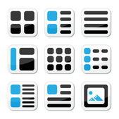 Website display options and photo gallery view icons set — Stock Vector