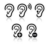 Ear hearing aid deaf problem icons set — Stok Vektör
