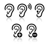 Oreja audífono sordo problema conjunto de iconos — Vector de stock