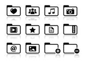 Folder documents music film icons set — Stock Vector