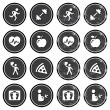Health and fitness icons retro labels set - Stock Vector