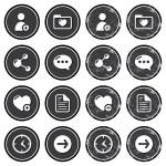 Website navigation icons on retro labels set — Stock Vector #13756248
