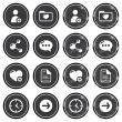 Website navigation icons on retro labels set — Stock Vector