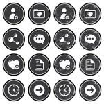 Website navigation icons on retro labels set — Stock Vector