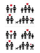 Gay, lezbiyen çiftler ve aile çocuk simgeleri ile ayarla — Stok Vektör
