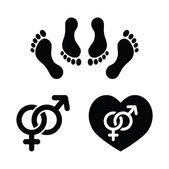 Pár sex, milování ikony nastavit — Stock vektor