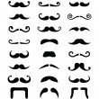 mustasch ikoner isolerade set — Stockvektor