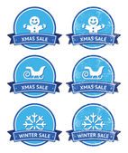 Christmas and winter sale retro labels — Stock Vector