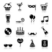 Party icons set - birthday, New Year's, Christmas — Stock Vector