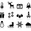 Royalty-Free Stock Vector Image: Christmas winter black icons set