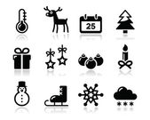 Christmas winter black icons set — Stock Vector
