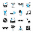 Holidays and party icons set as labels - Stok Vektör