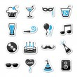 Holidays and party icons set as labels — Vettoriali Stock