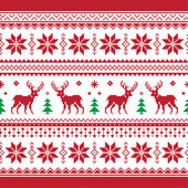 Christmas and Winter knitted seamless pattern or card with deer - scandynavian style — Vettoriale Stock
