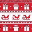 Christmas card, seamless pattern with santa's sledges and present — Stock Vector